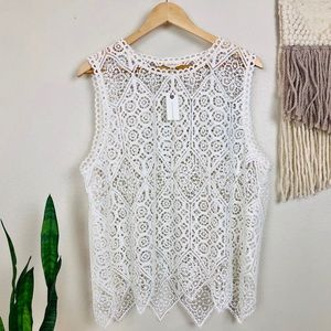 NWT Anthropology Deletta Lacework Shell Tank